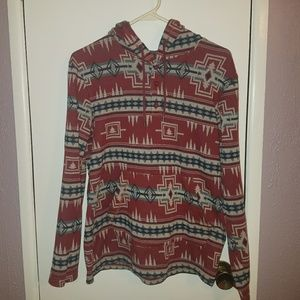 ON THE BYAS Pacsun Red Tribal Print Button Hoodie